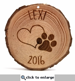 Custom Paw with Heart Rustic Wood Ornament 3 in x 3 in x 0.25 in