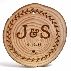 Custom Wreath with Initials Rustic Wood Ornament 3 in x 3 in x 0.25 in