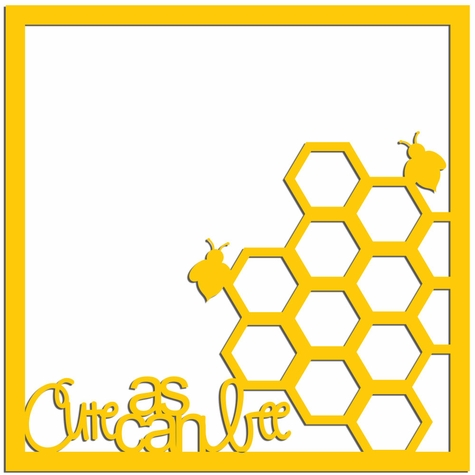 2SYT Cute as can Bee 12 x 12 Overlay Laser Die Cut