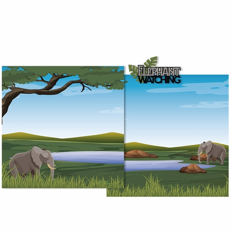 Elephant watching Double Page Layout Kit