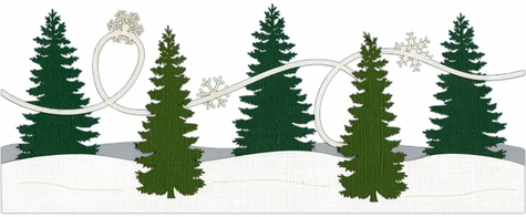 Evergreen Trees with Snow Border Laser Die Cut