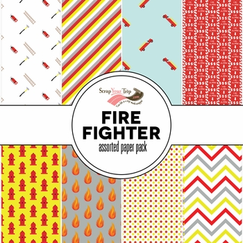 Firefighter Assorted 12 x 12 Paper Pack