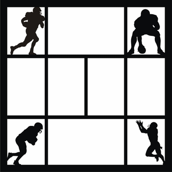Football Poses 12 x 12 Overlay Laser Die Cut
