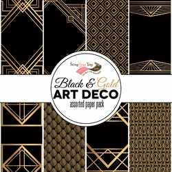Gold and Black Art Deco 12 x12 Assorted Paper Pack