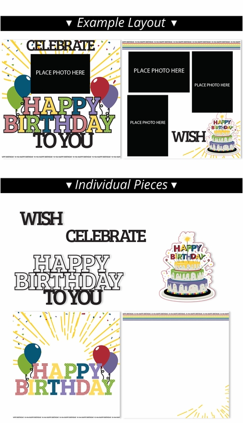 Happy Birthday 2 Page Print and Cut