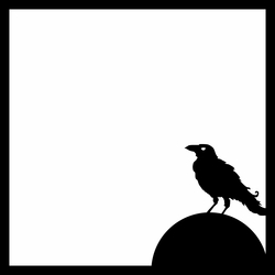 Horror: Crow on Tombstone 12 x 12 Overlay Laser Die Cut