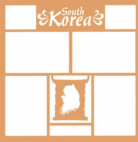 Maps of the World: South Korea 12 x 12 Overlay Laser Die Cut