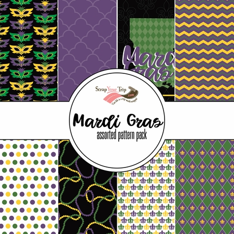 Mardi Gras Assorted 12 x 12 Paper Pack
