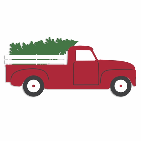 Merry Christmas: Truck with Christmas Tree Laser Die Cut