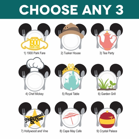 Mickey Heads: Character Dining Mouse Head Laser Die Cuts