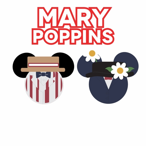 Mickey Heads:  Mary Poppins Mouse Head Laser Die Cuts