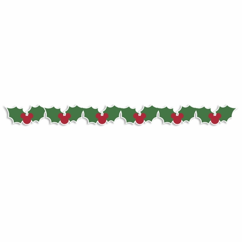 Mouse Christmas: Mouse Holly Border Laser Die Cut