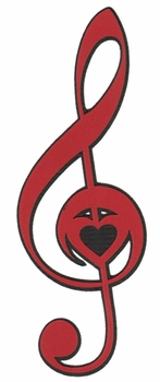 Music: Treble Clef With Heart Laser Die Cut