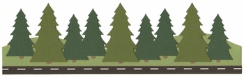 Road and Trees Border Laser Die Cut