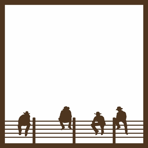 Rodeo: Cowboys on Fence 12 x 12 Overlay Laser Die Cut