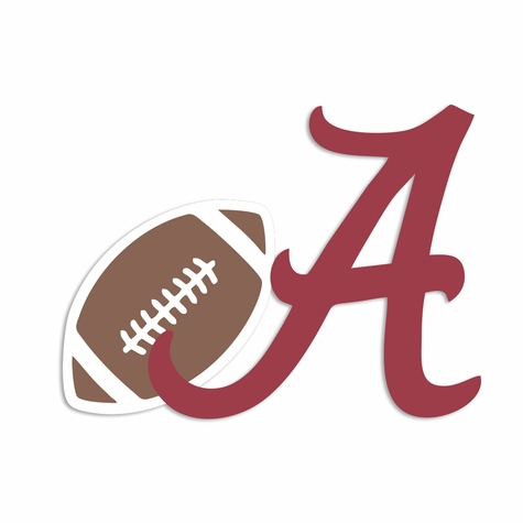 Rolltide: A with Football Laser Die Cut