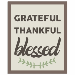 Rustic Fall: Grateful Thankful Blessed Laser Die Cut
