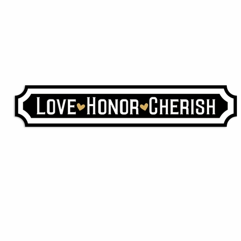 Rustic Wedding: Love Honor Cherish Laser Die Cut