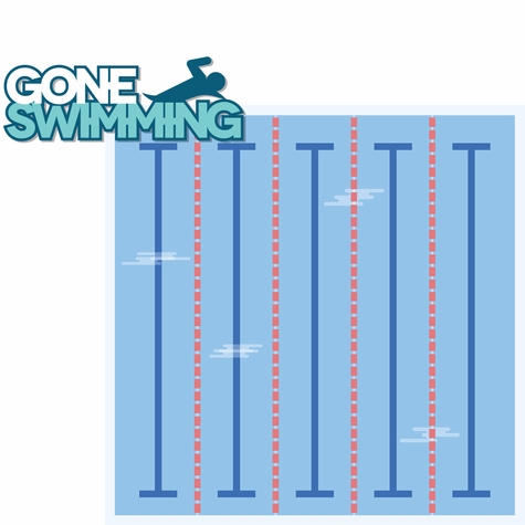 Swimming and Diving: Gone Swimming 2 Piece Laser Die Cut Kit