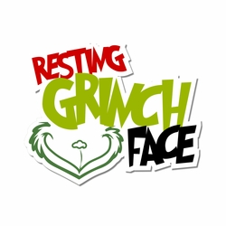 The Grinch: Resting Grinch Face Laser Die Cut