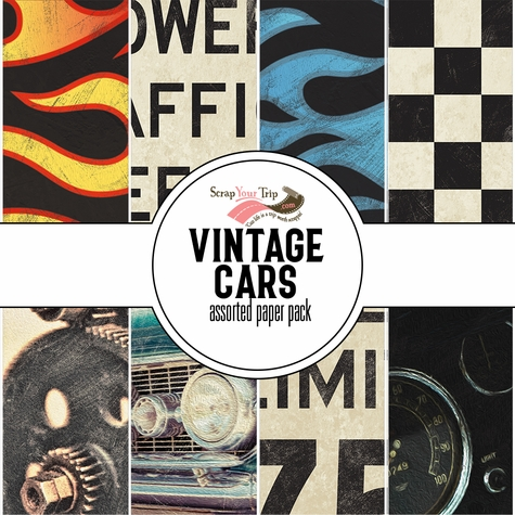 Vintage Cars Assorted 12 x 12 Paper Pack