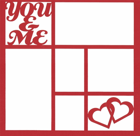 You & Me Hearts 12 x 12 Overlay Laser Die Cut