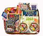 50th Wedding Anniversary Gift Basket with 1969 Stamps