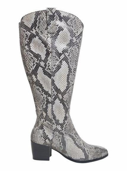 Adana Extra Wide Calf Ladies Boot Black Snake