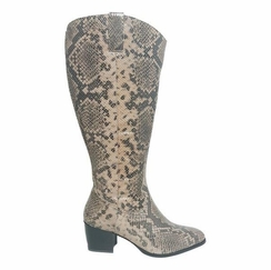 Adana Extra Wide Calf Extra Wide Calf Ladies Boot Taupe Snake