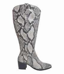 Adana Super Wide Calf Ladies Boot Black Snake