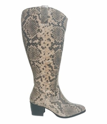 Adana Super Wide Calf Ladies Boot Taupe Snake