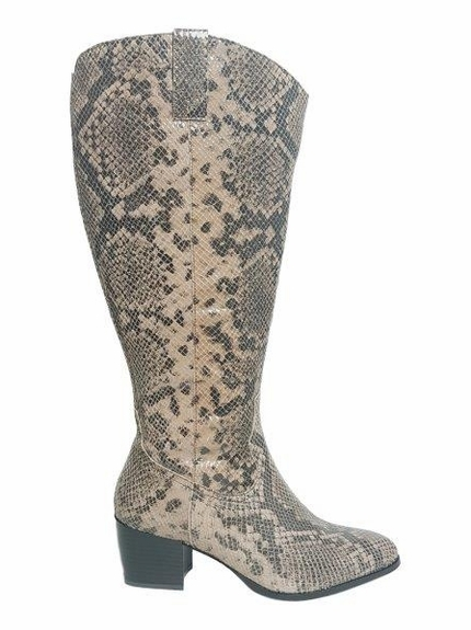 Adana Super Wide Calf Super Wide Calf Ladies Boot Taupe Snake