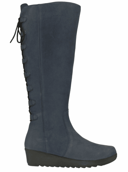 Akins Extra Wide Calf Ladies Boot Asphalt Cow Grain