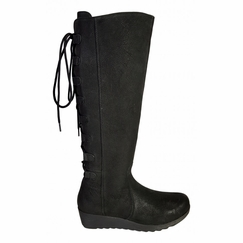 Akins Extra Wide Calf Ladies Boot Black Cow Grain