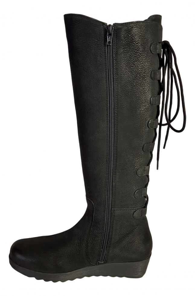 816f00b96761 Akins Extra Wide Calf Ladies Boot Black Cow Grain - Wide Calf Casual ...