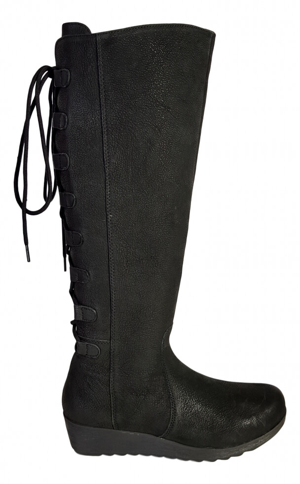 085e3d0bbabf Akins Extra Wide Calf Ladies Boot Black Cow Grain - Wide Calf ...
