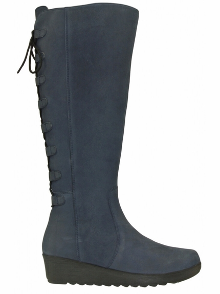 Akins Wide Calf Ladies Boot Asphalt Cow Grain