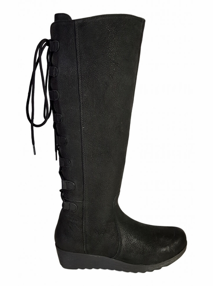 Akins Wide Calf Ladies Boot Black Cow Grain