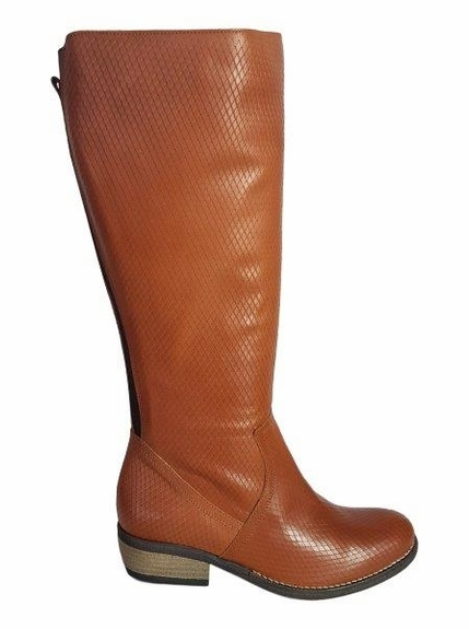 Alexandria Super Wide Calf Ladies Boot Cognac Tiffany Print