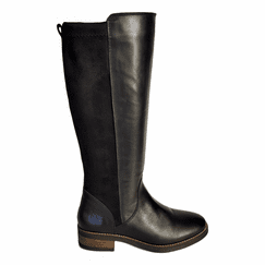 Annfield Extra Wide Calf Ladies Boot Black Nappa/Stretch Suede