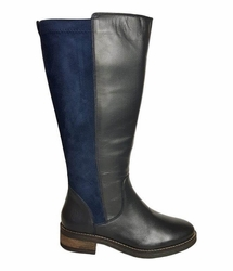 Annfield Extra Wide Calf Ladies Boot Ocean Nappa/Stretch Suede