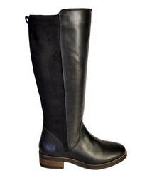 Annfield Super Wide Calf Ladies Boot Black Nappa/Stretch Suede