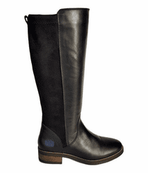 Annfield Wide Calf Ladies Boot Black Nappa/Stretch Suede