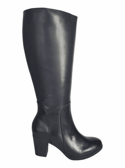 Brora Extra Wide Calf Ladies Boot Black Nappa Capri