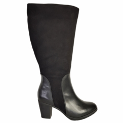 Brora Super Wide Calf Ladies Boot Black Nappa/Suede