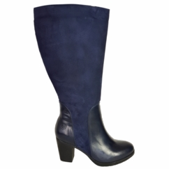 Brora Super Wide Calf Ladies Boot Ocean Nappa/Suede