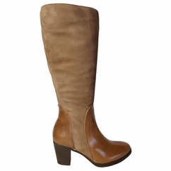 Brora Super Wide Calf Ladies Boot Taupe Nappa/Suede