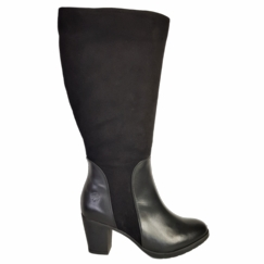 Brora Wide Calf Ladies Boot Black Nappa/Suede