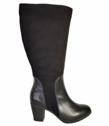 Brora Wide Calf Wide Calf Ladies Boot Black Nappa/Suede