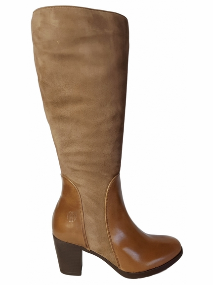 Brora Wide Calf Wide Calf Ladies Boot Taupe Nappa/Suede